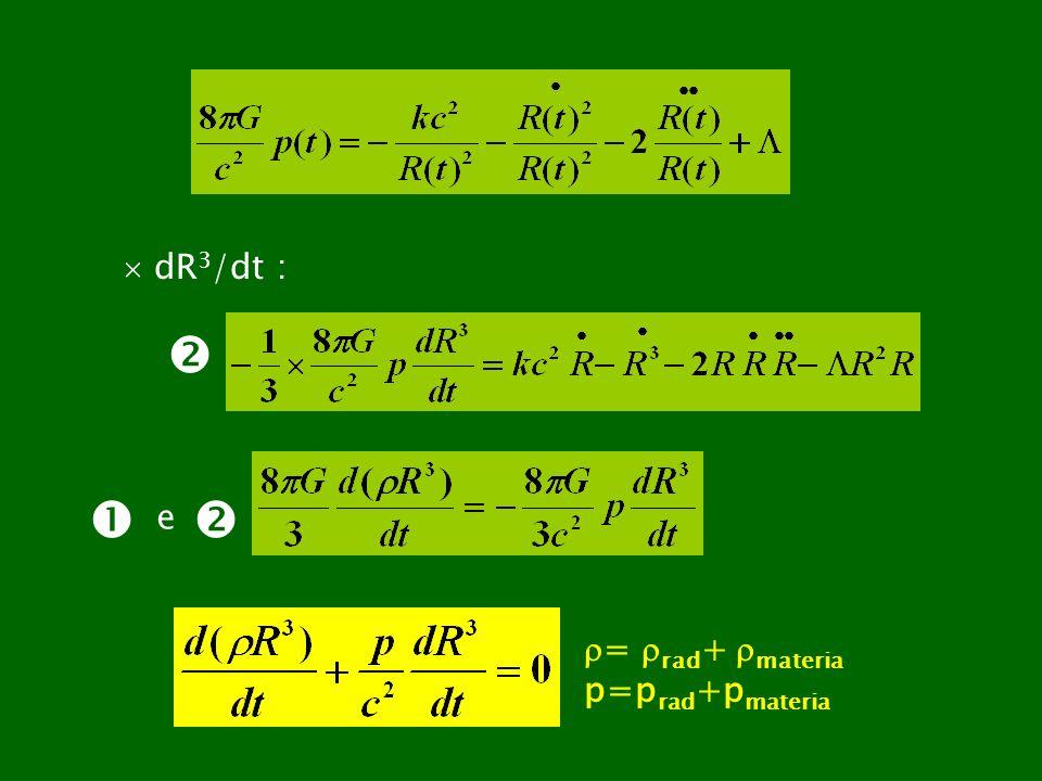  dR3/dt :   e  = rad+ materia p=prad+pmateria
