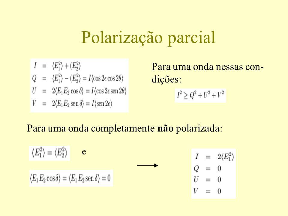 Polarização parcial Para uma onda nessas con- dições: