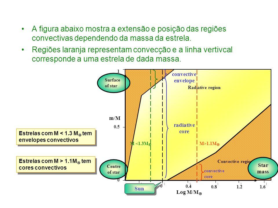 A figura abaixo mostra a extensão e posição das regiões convectivas dependendo da massa da estrela.