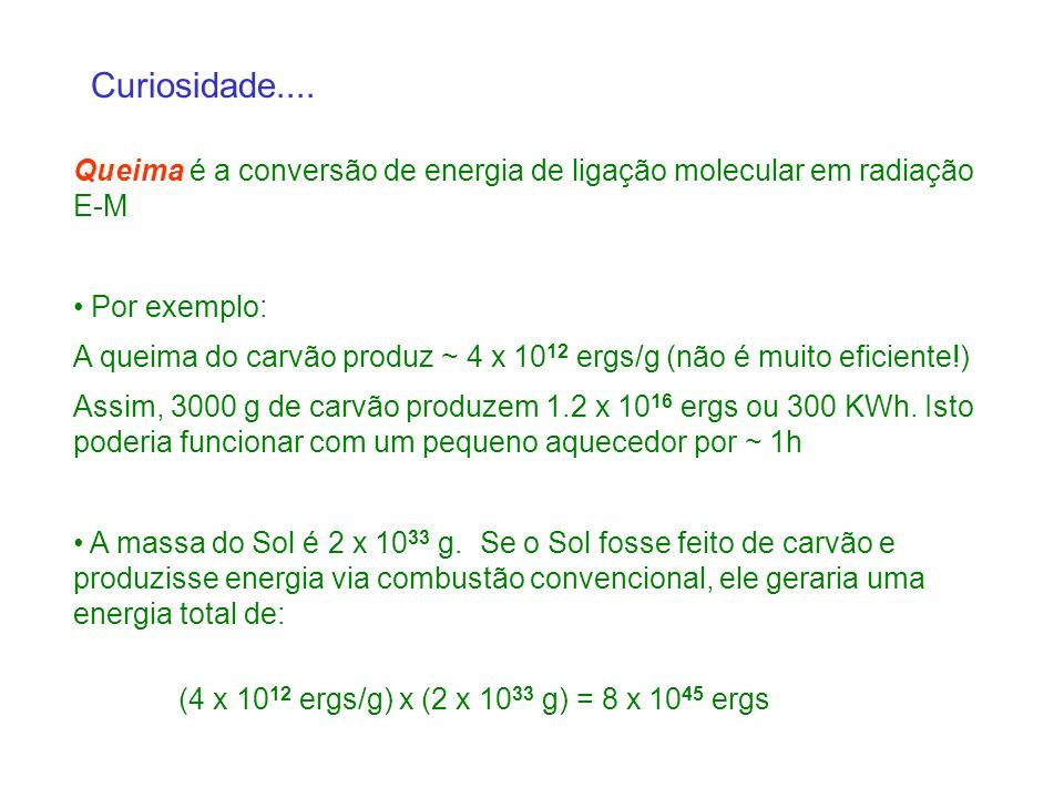 Curiosidade.... Queima é a conversão de energia de ligação molecular em radiação E-M. Por exemplo: