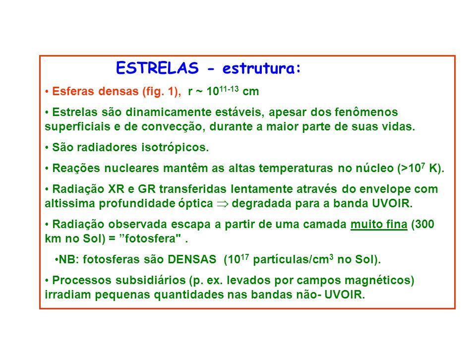 ESTRELAS - estrutura: Esferas densas (fig. 1), r ~ 1011-13 cm