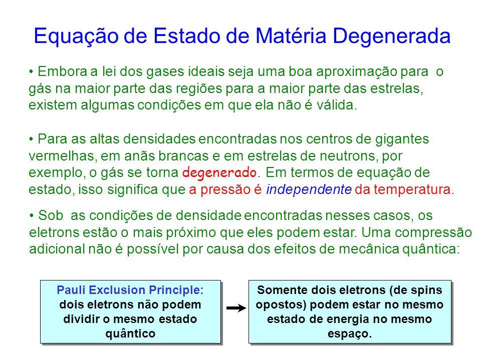 Equação de Estado de Matéria Degenerada
