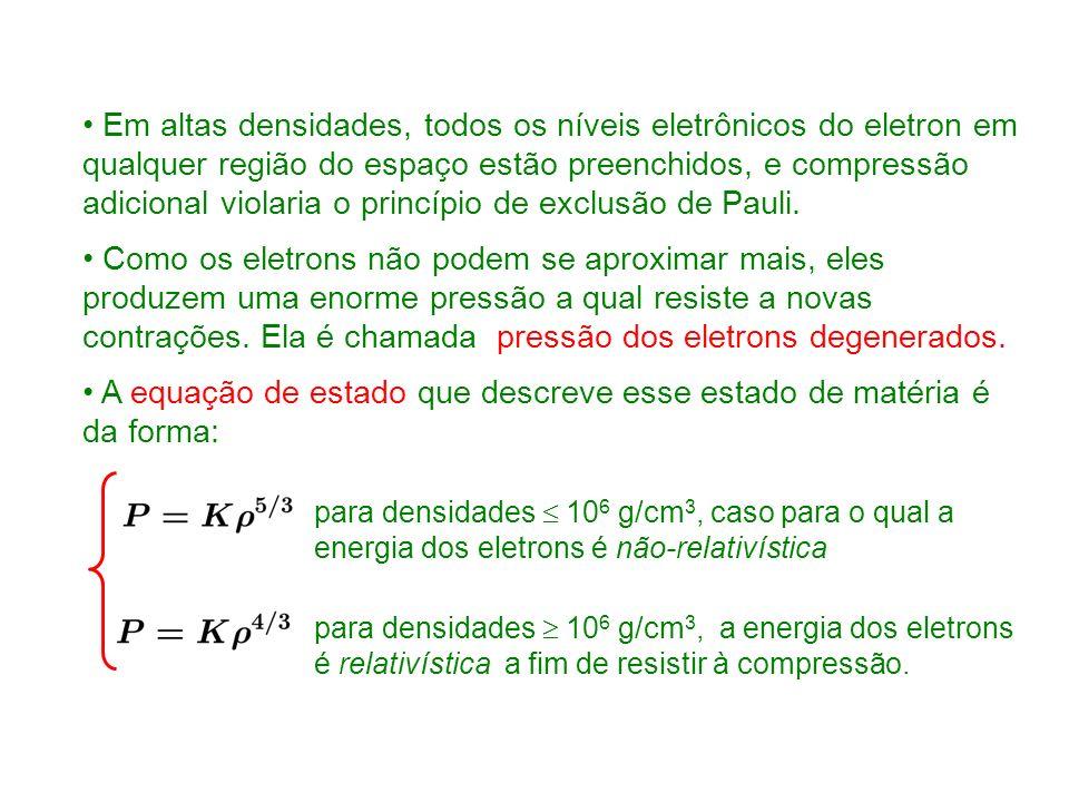 A equação de estado que descreve esse estado de matéria é da forma: