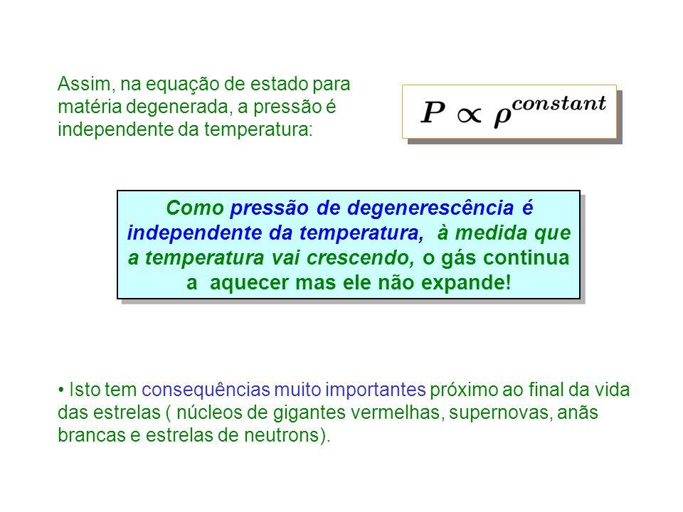 Assim, na equação de estado para matéria degenerada, a pressão é independente da temperatura: