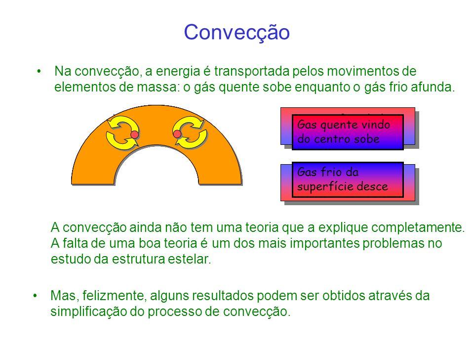 Convecção Na convecção, a energia é transportada pelos movimentos de elementos de massa: o gás quente sobe enquanto o gás frio afunda.