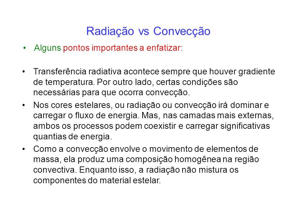 Radiação vs Convecção Alguns pontos importantes a enfatizar: