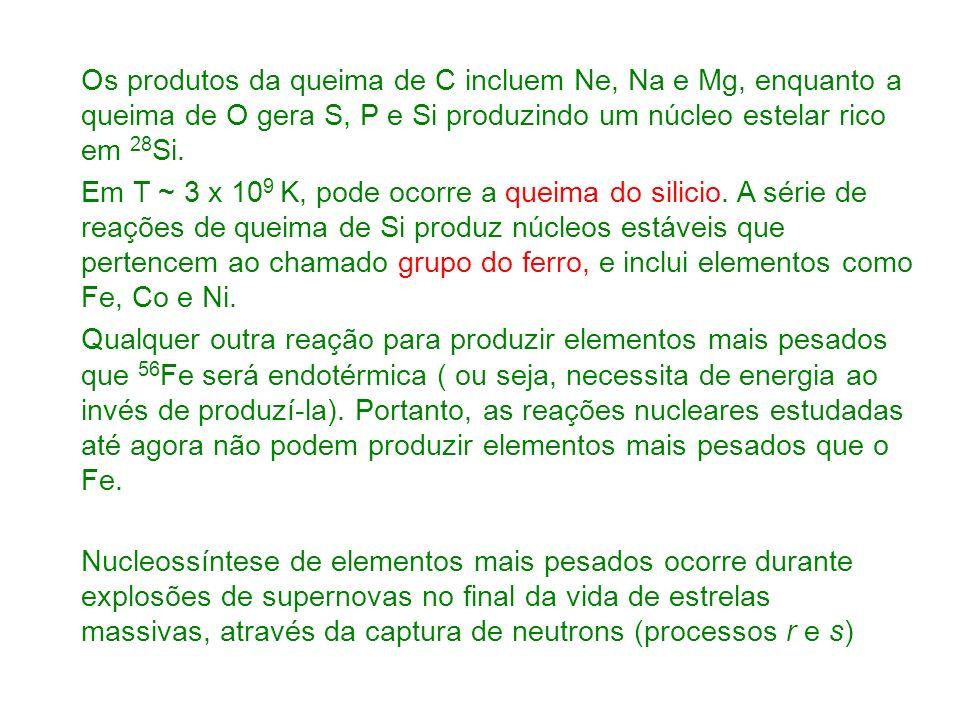 Os produtos da queima de C incluem Ne, Na e Mg, enquanto a queima de O gera S, P e Si produzindo um núcleo estelar rico em 28Si.