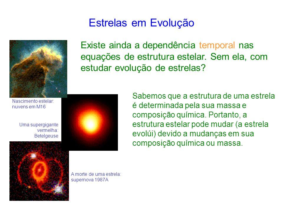 Estrelas em Evolução Existe ainda a dependência temporal nas equações de estrutura estelar. Sem ela, com estudar evolução de estrelas