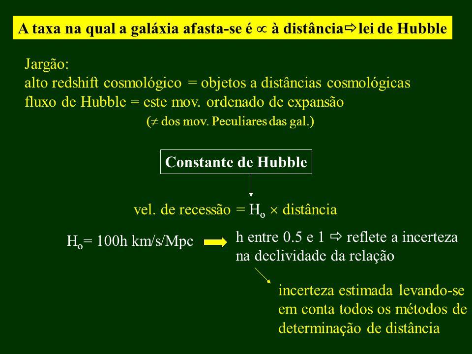 A taxa na qual a galáxia afasta-se é  à distâncialei de Hubble