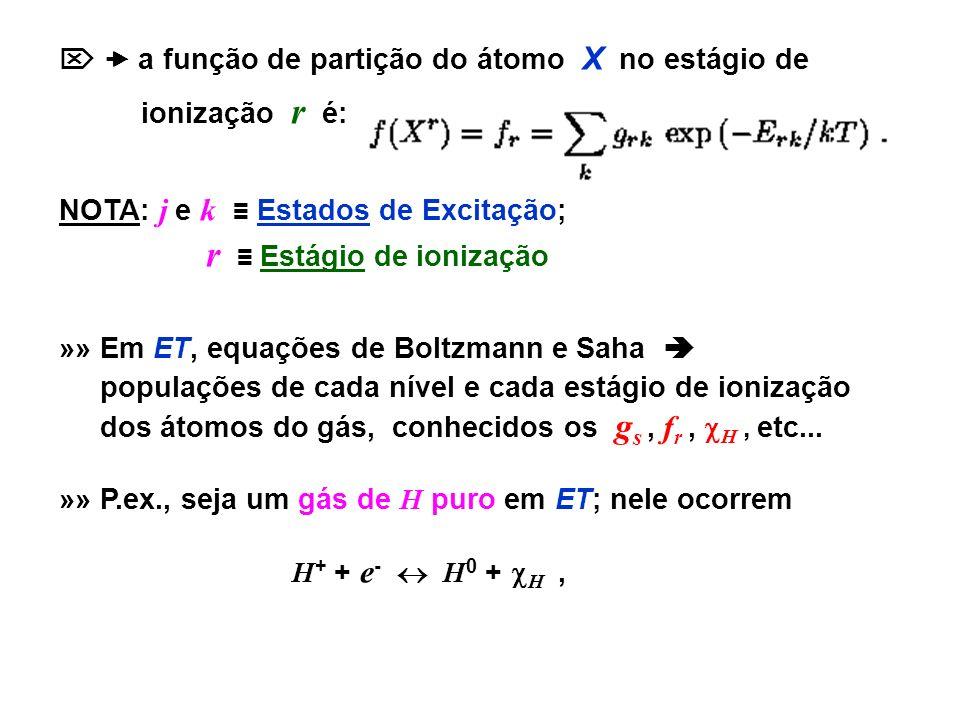   a função de partição do átomo X no estágio de
