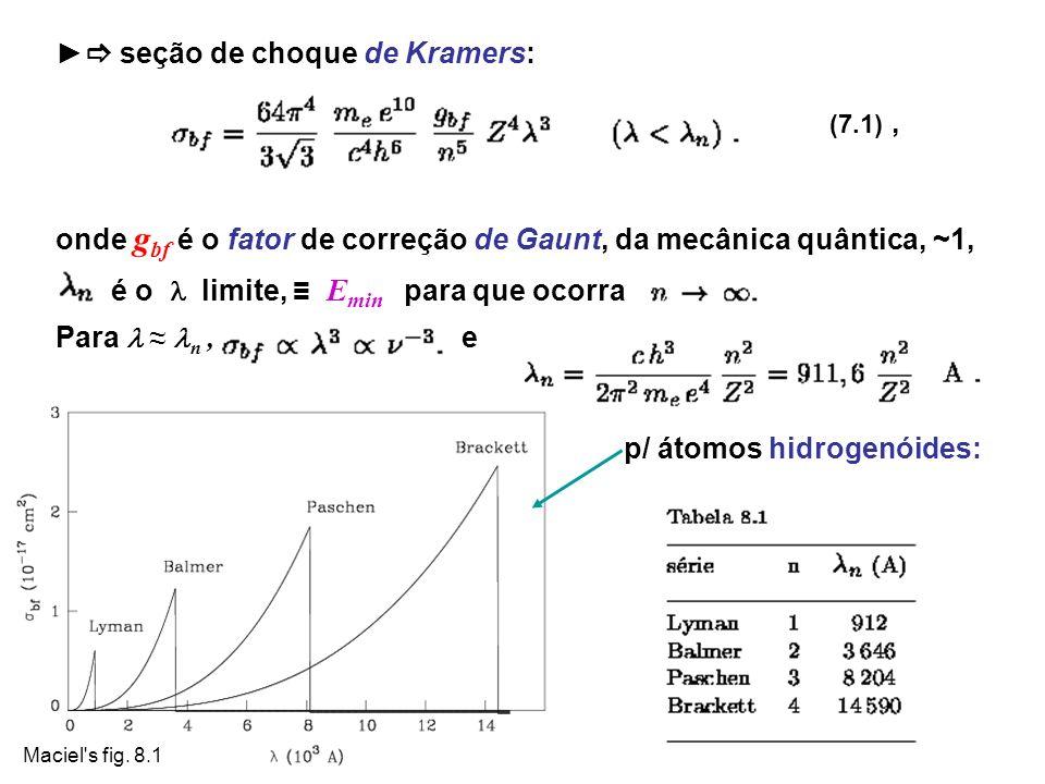 ► seção de choque de Kramers: (7.1) ,
