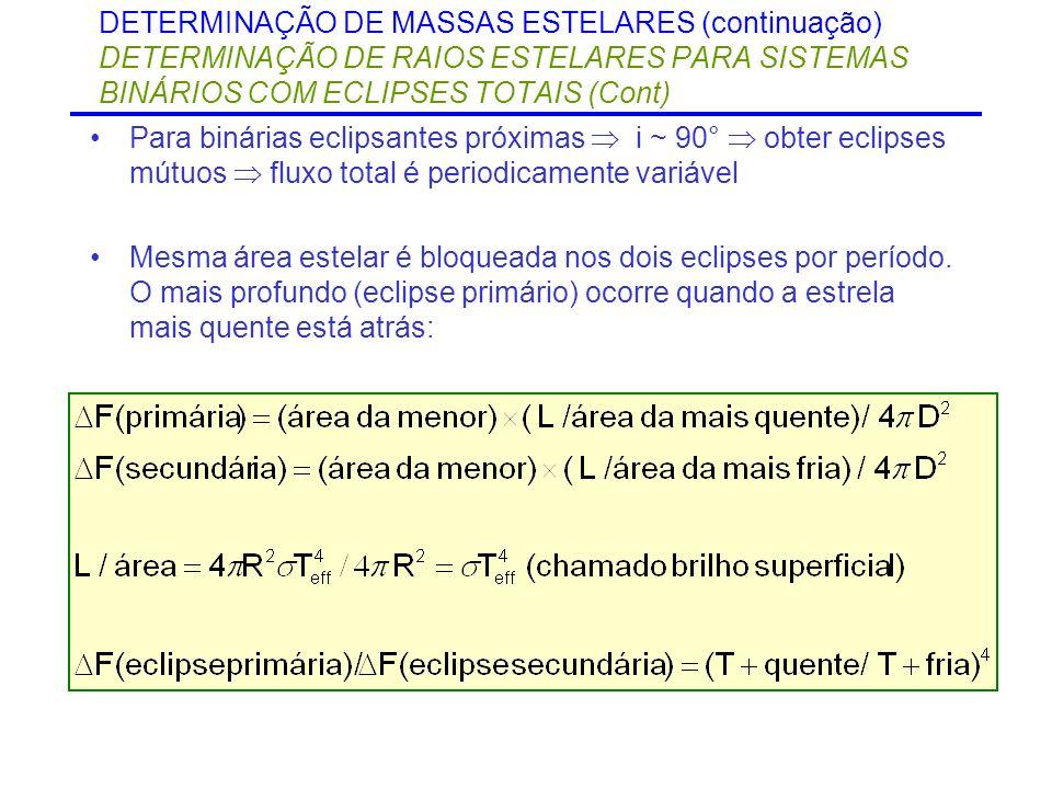 DETERMINAÇÃO DE MASSAS ESTELARES (continuação) DETERMINAÇÃO DE RAIOS ESTELARES PARA SISTEMAS BINÁRIOS COM ECLIPSES TOTAIS (Cont)