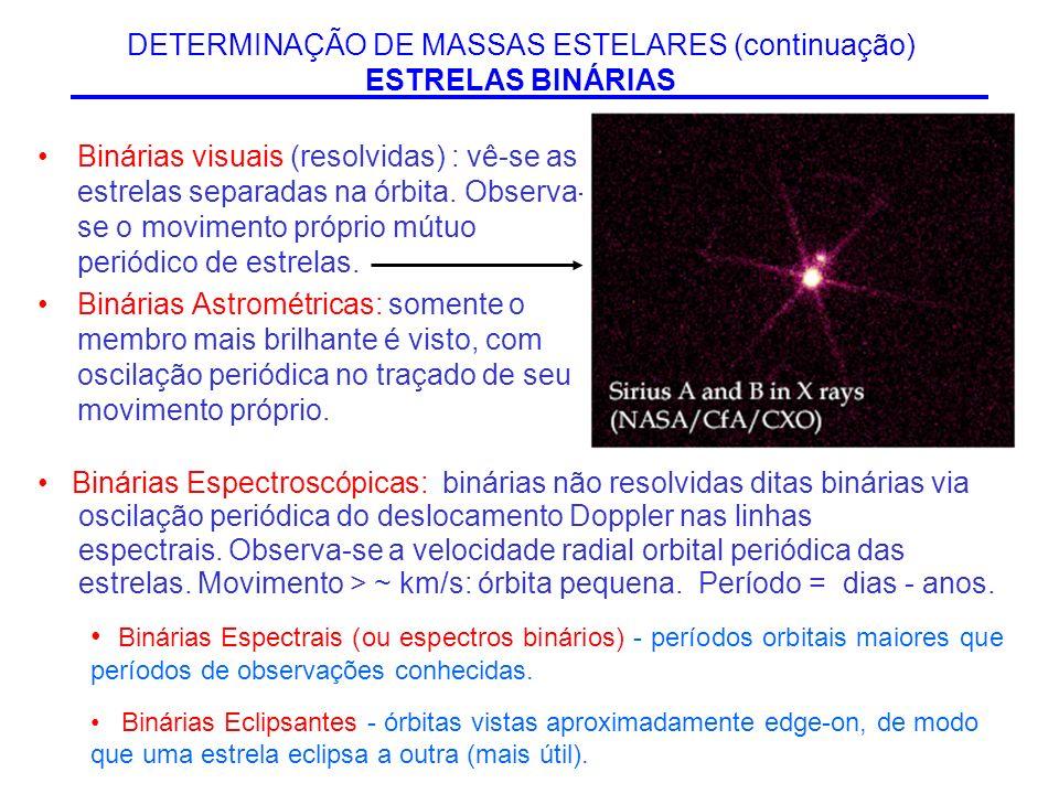 DETERMINAÇÃO DE MASSAS ESTELARES (continuação) ESTRELAS BINÁRIAS