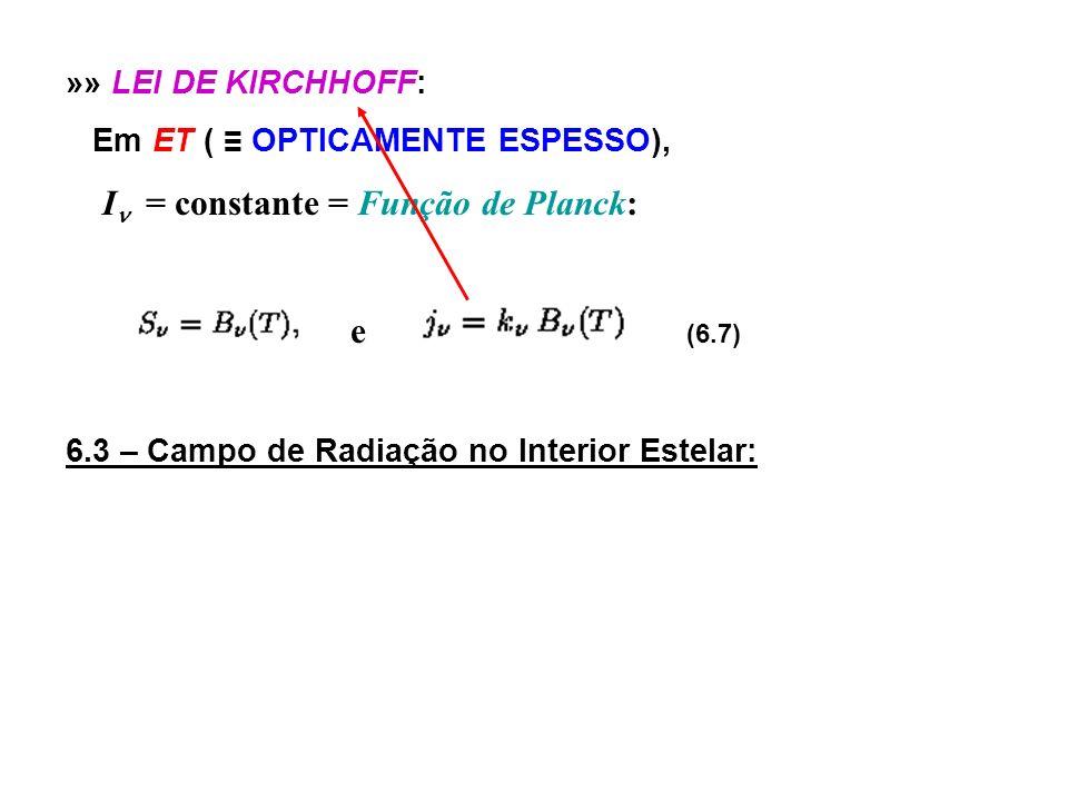 e (6.7) »» LEI DE KIRCHHOFF: Em ET ( ≡ OPTICAMENTE ESPESSO),