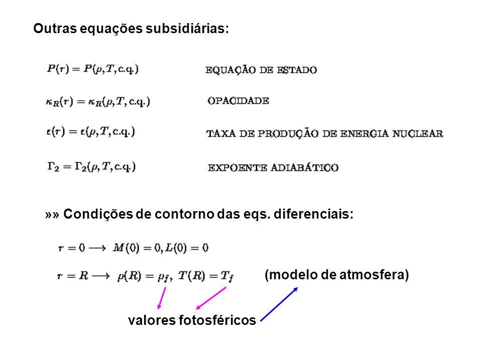 Outras equações subsidiárias: