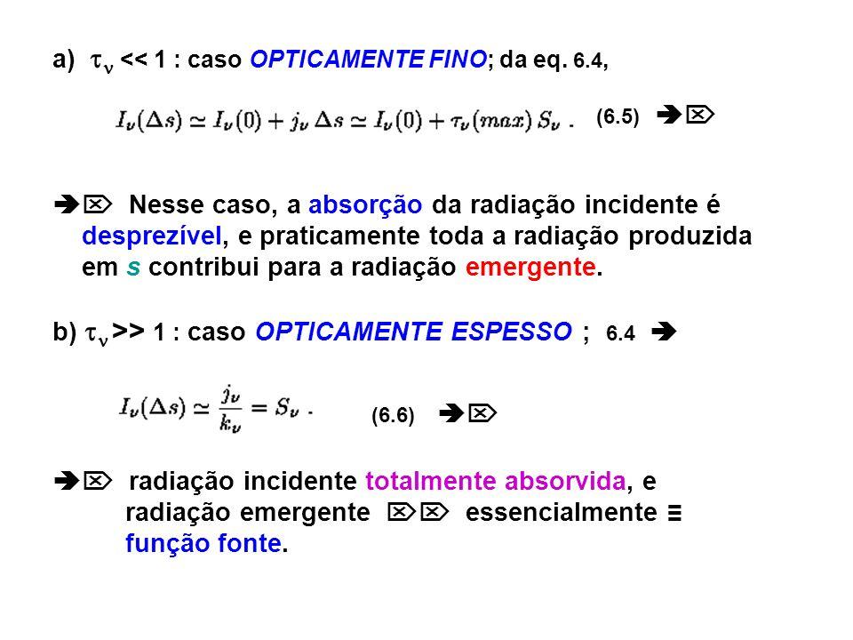 a)  << 1 : caso OPTICAMENTE FINO; da eq. 6.4,