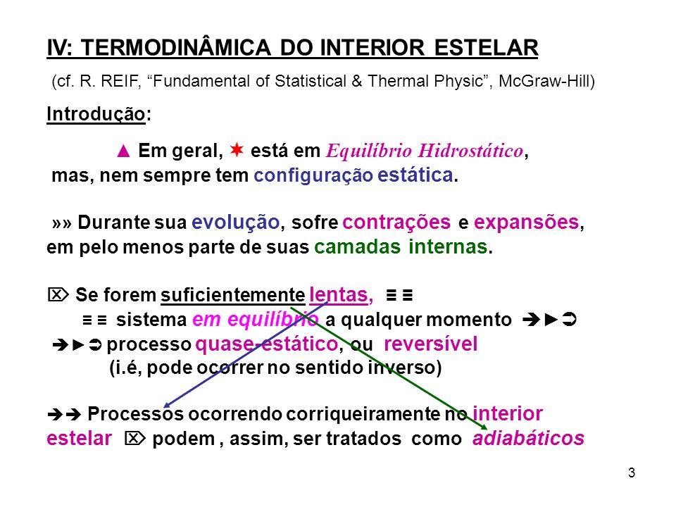 IV: TERMODINÂMICA DO INTERIOR ESTELAR