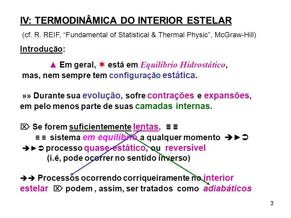 IV: TERMODINÂMICA DO INTERIOR ESTELAR