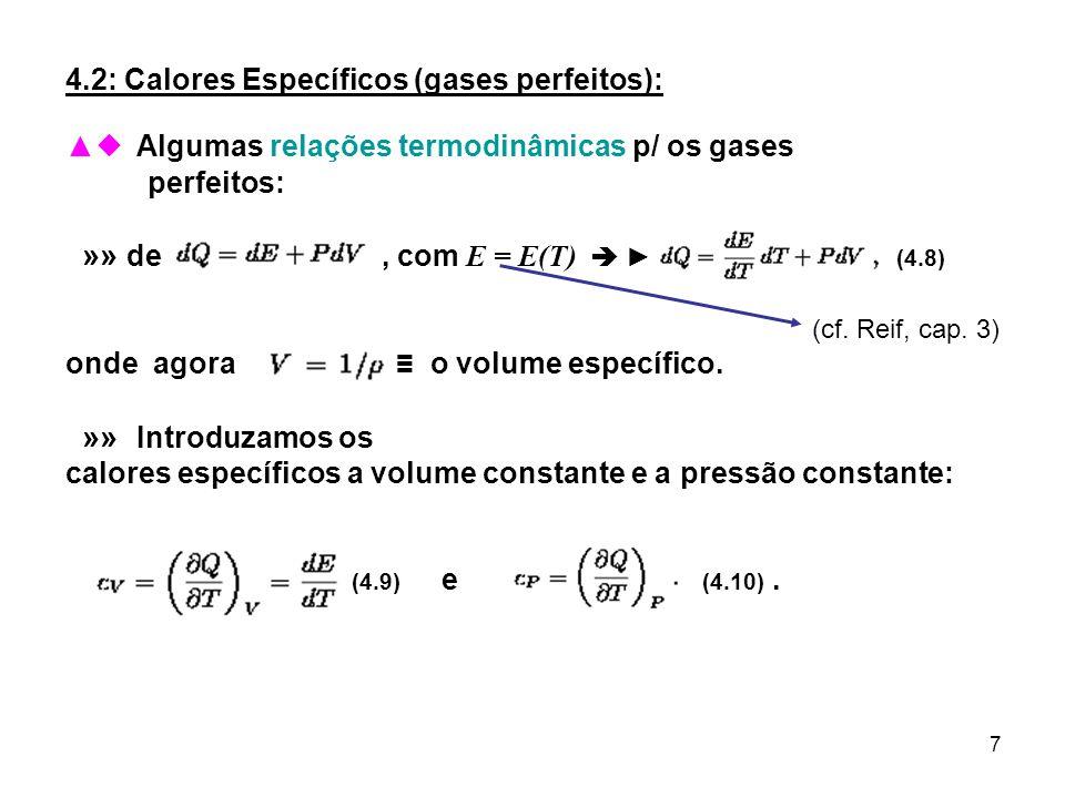 4.2: Calores Específicos (gases perfeitos):