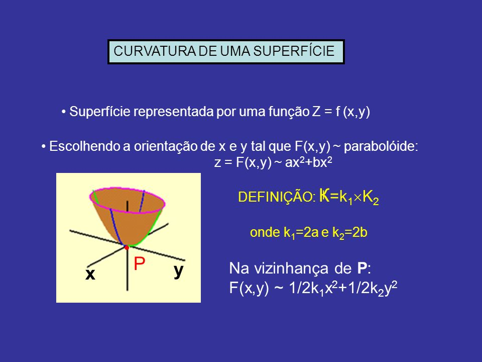 P y x Na vizinhança de P: F(x,y) ~ 1/2k1x2+1/2k2y2