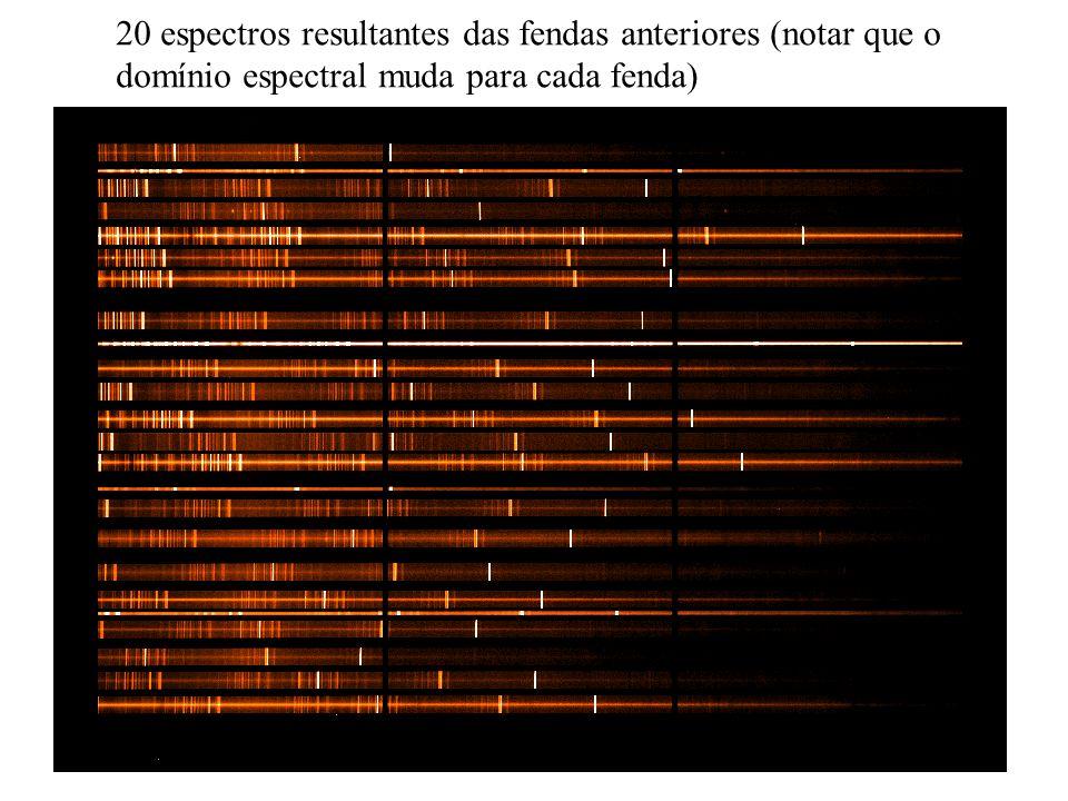 20 espectros resultantes das fendas anteriores (notar que o domínio espectral muda para cada fenda)