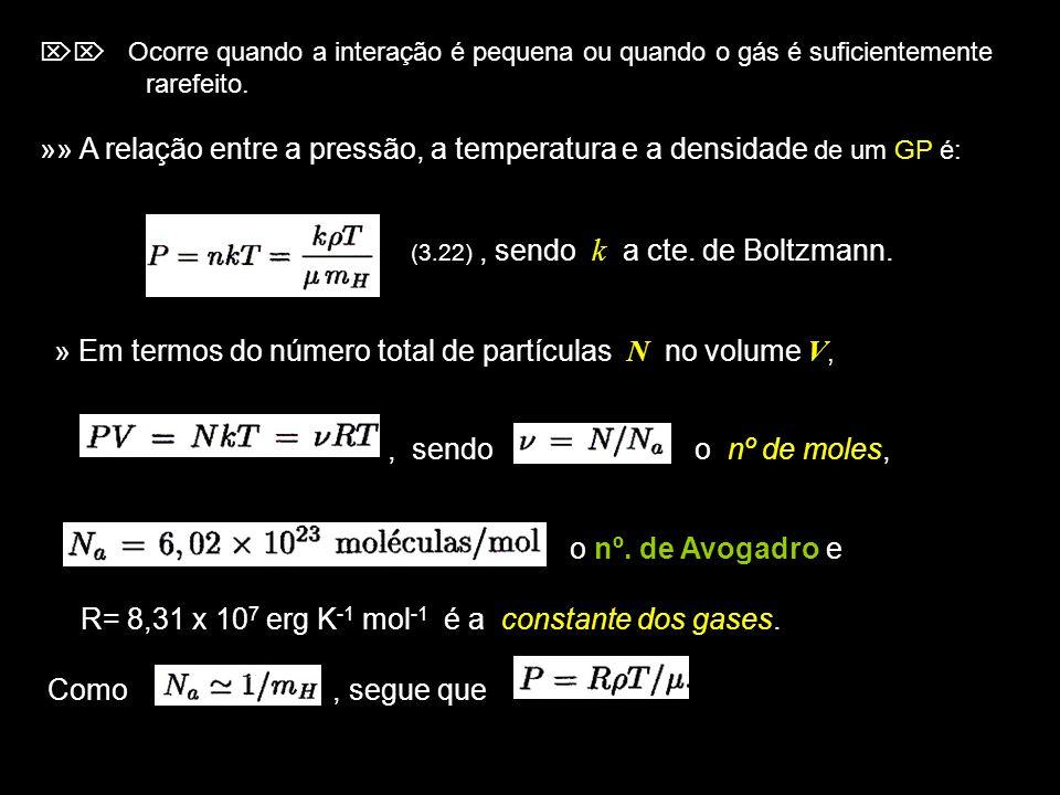 »» A relação entre a pressão, a temperatura e a densidade de um GP é: