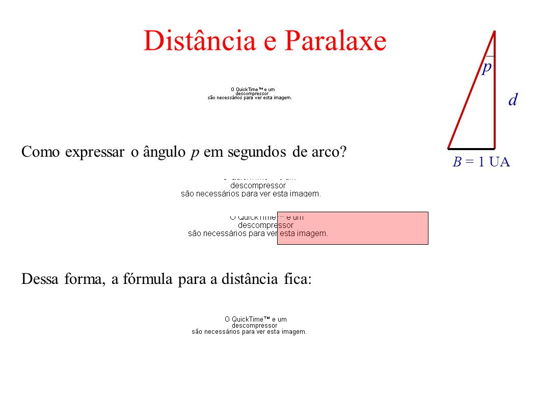 Distância e Paralaxe p d