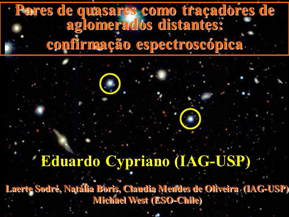 Pares de quasares como traçadores de aglomerados distantes: