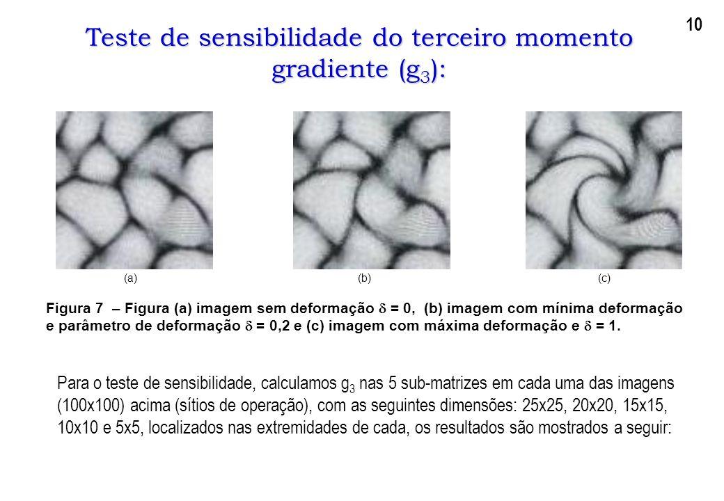 Teste de sensibilidade do terceiro momento gradiente (g3):