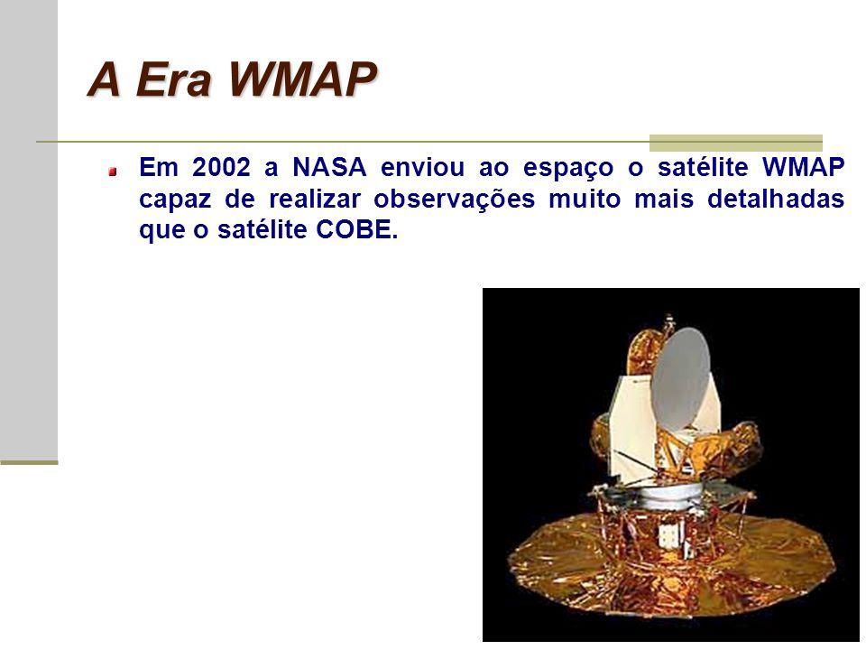 A Era WMAP Em 2002 a NASA enviou ao espaço o satélite WMAP capaz de realizar observações muito mais detalhadas que o satélite COBE.