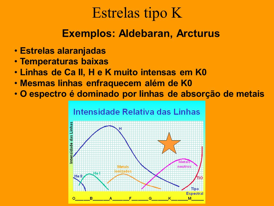 Exemplos: Aldebaran, Arcturus