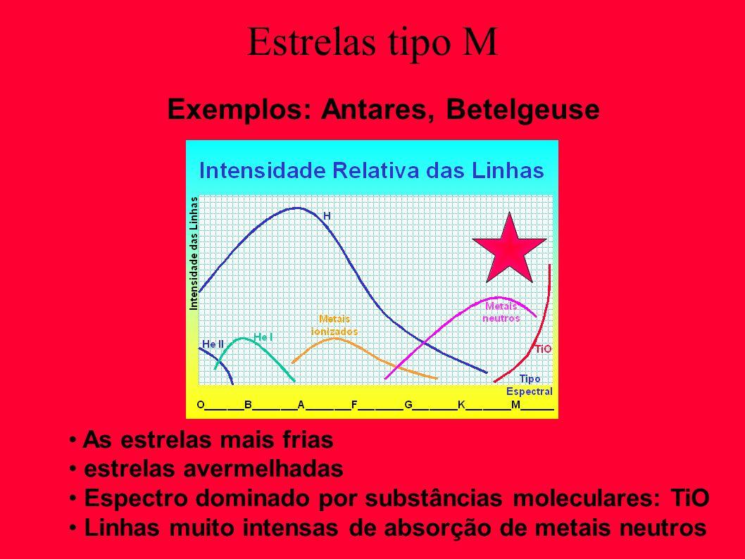 Exemplos: Antares, Betelgeuse