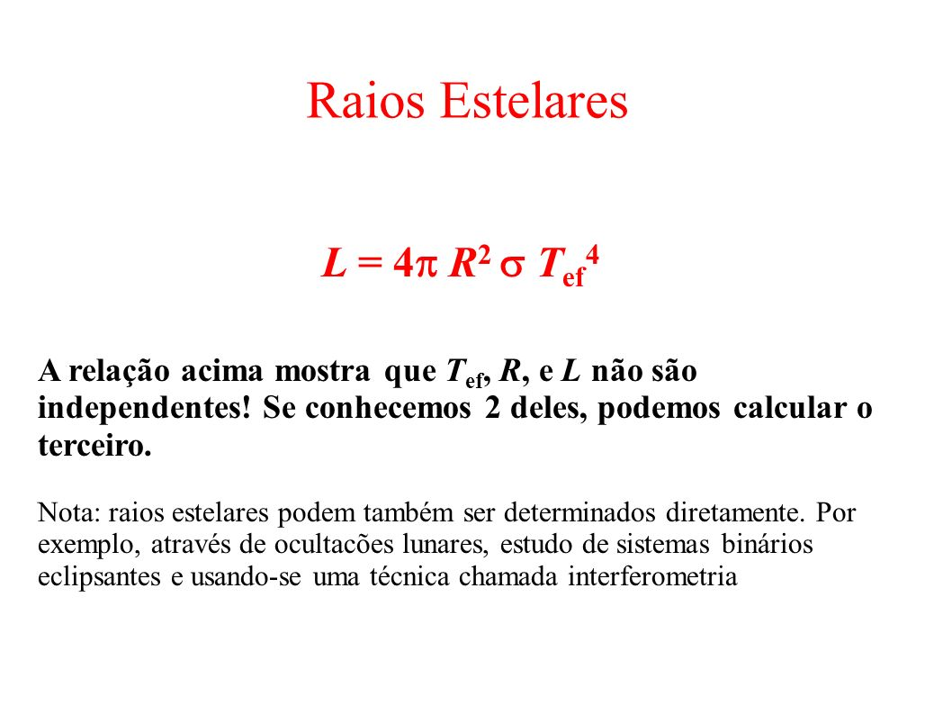 Raios Estelares L = 4p R2 s Tef4