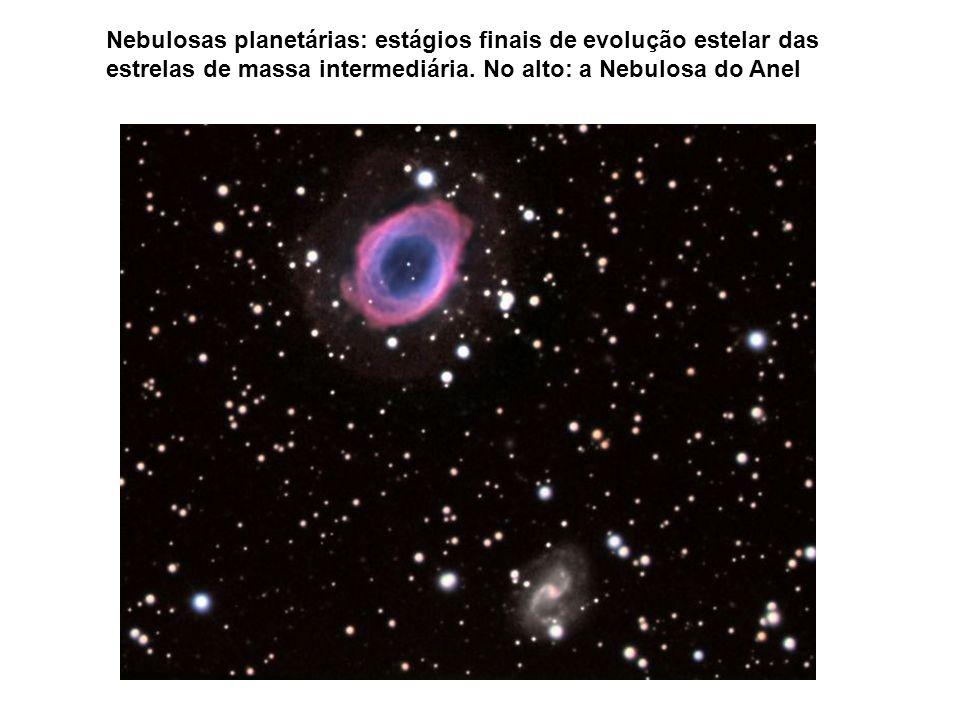 Nebulosas planetárias: estágios finais de evolução estelar das estrelas de massa intermediária.
