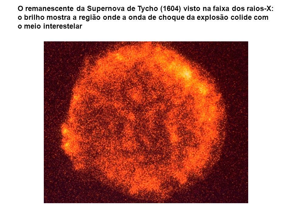 O remanescente da Supernova de Tycho (1604) visto na faixa dos raios-X: o brilho mostra a região onde a onda de choque da explosão colide com o meio interestelar