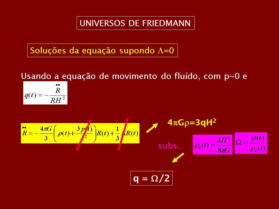 q = /2 UNIVERSOS DE FRIEDMANN Soluções da equação supondo =0