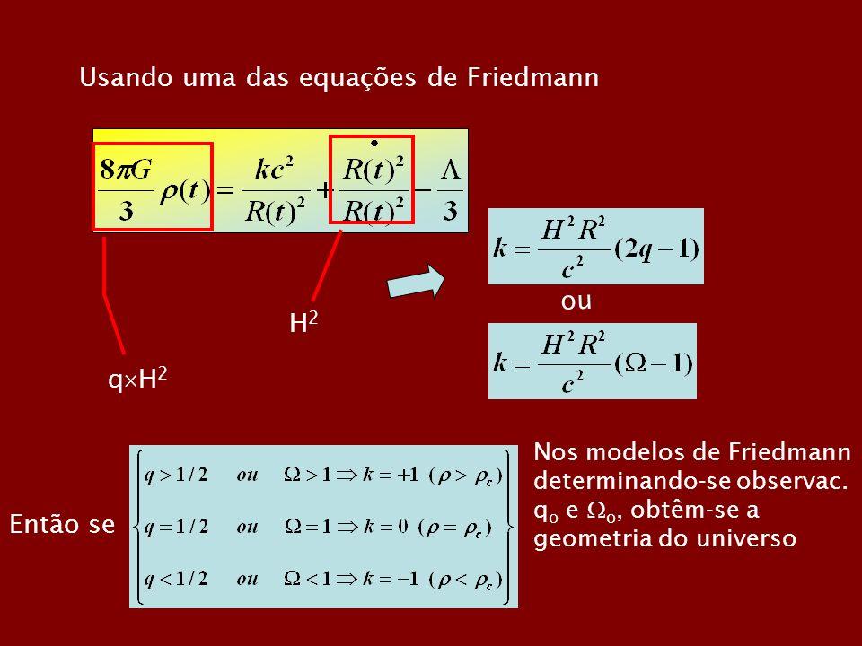 Usando uma das equações de Friedmann