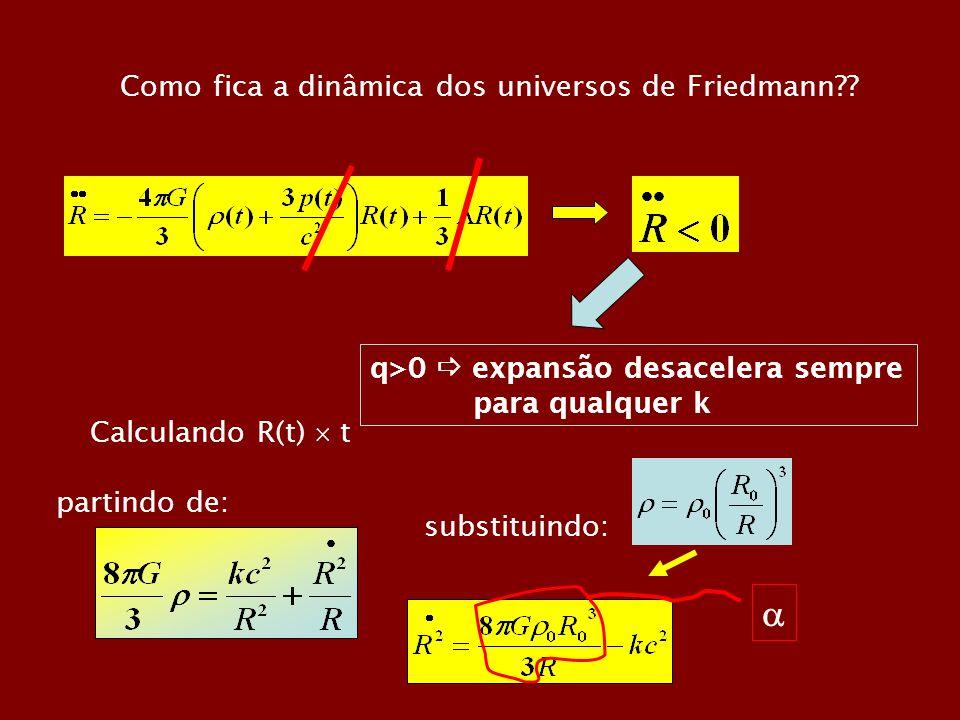  Como fica a dinâmica dos universos de Friedmann