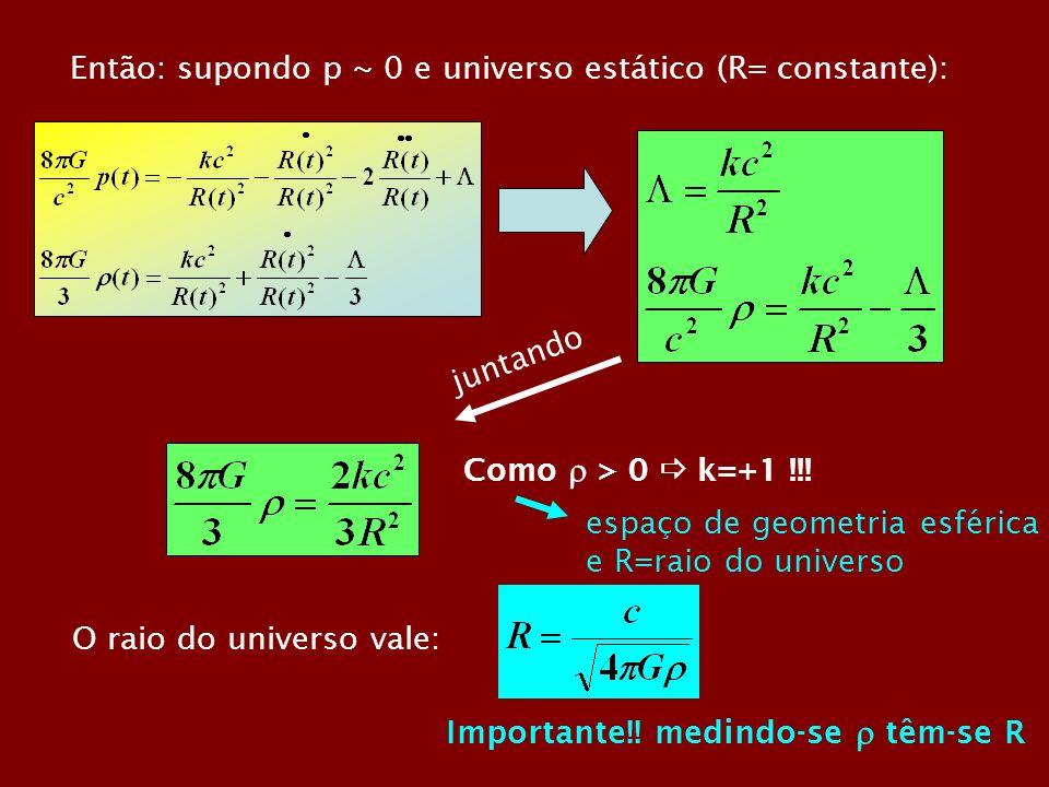 Então: supondo p ~ 0 e universo estático (R= constante):
