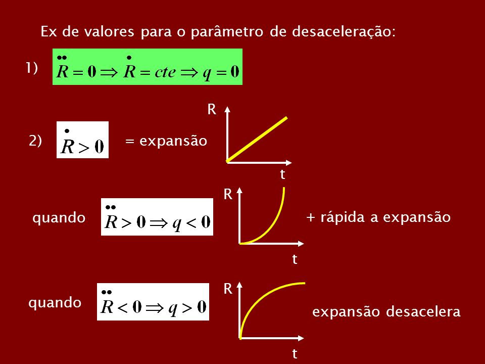 Ex de valores para o parâmetro de desaceleração: