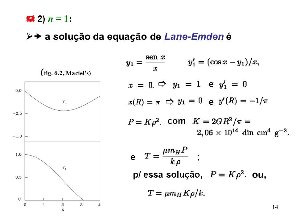  a solução da equação de Lane-Emden é
