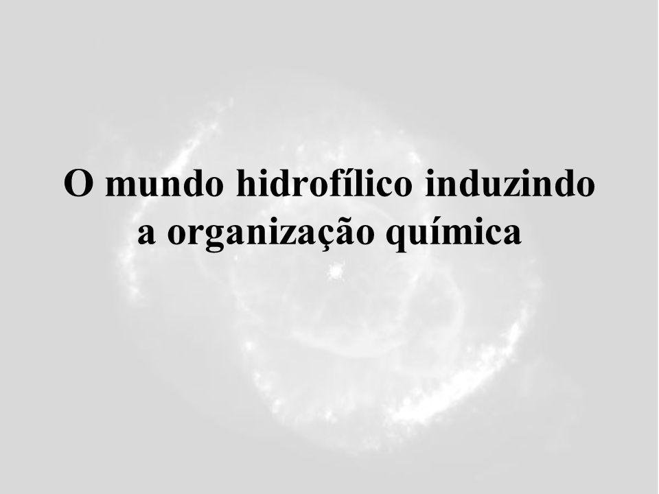 O mundo hidrofílico induzindo a organização química