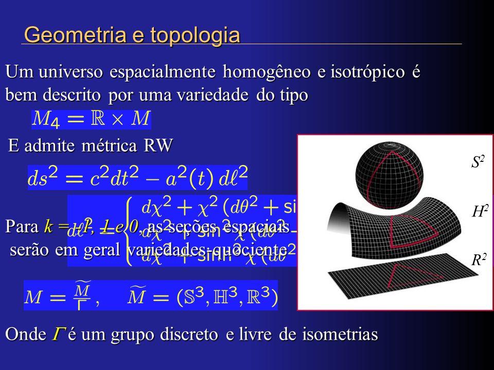 Geometria e topologia Um universo espacialmente homogêneo e isotrópico é bem descrito por uma variedade do tipo.