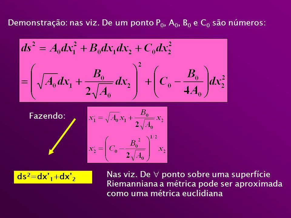 Demonstração: nas viz. De um ponto P0, A0, B0 e C0 são números: