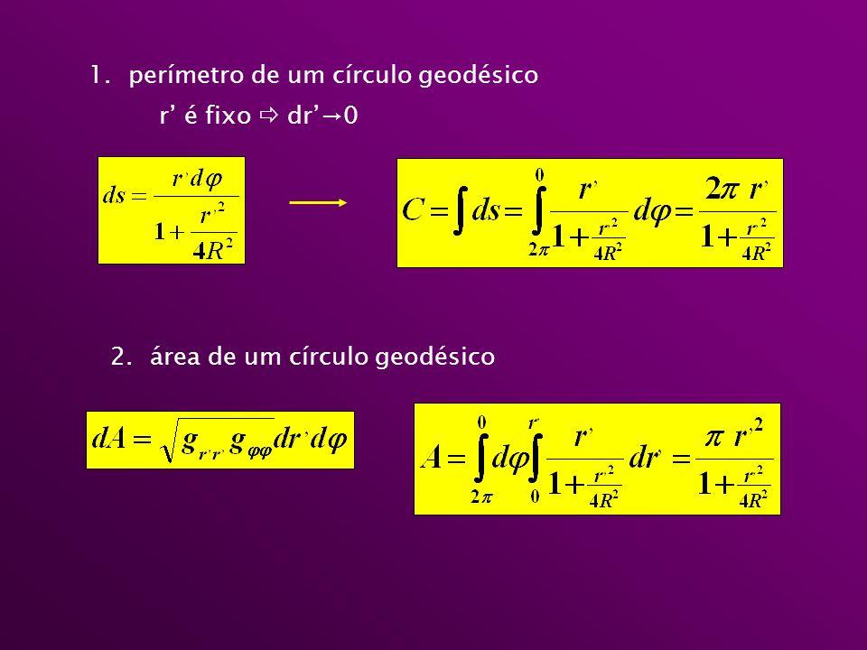 perímetro de um círculo geodésico