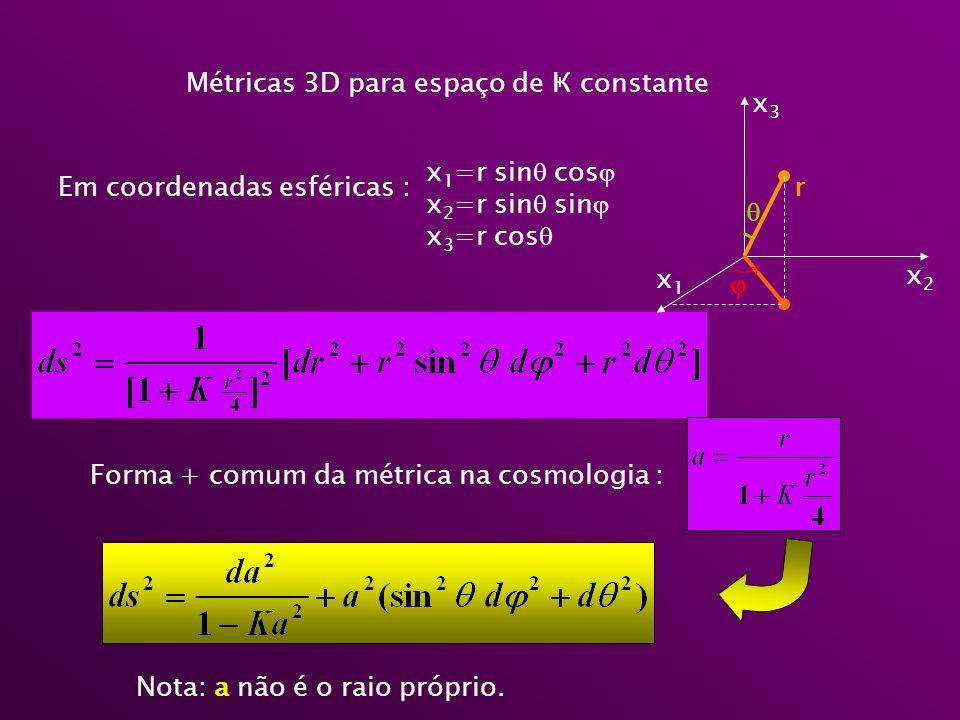 Métricas 3D para espaço de Ҝ constante