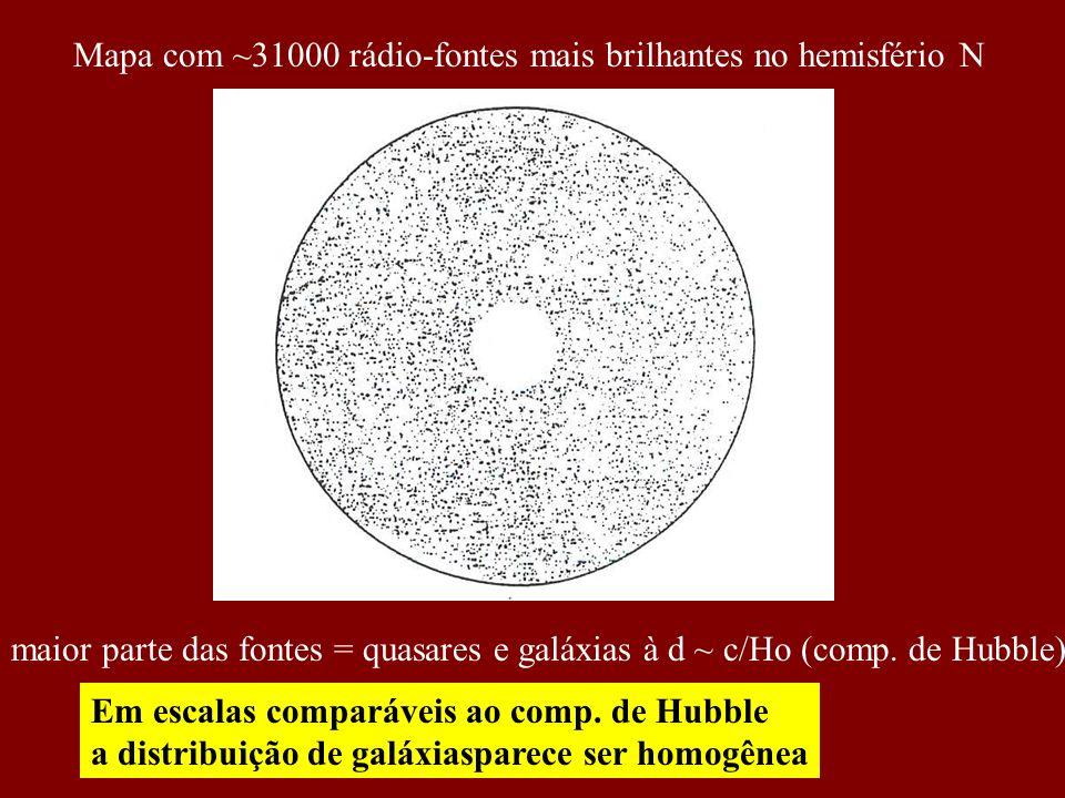 Mapa com ~31000 rádio-fontes mais brilhantes no hemisfério N
