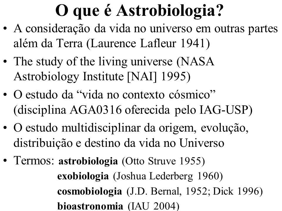 O que é Astrobiologia A consideração da vida no universo em outras partes além da Terra (Laurence Lafleur 1941)