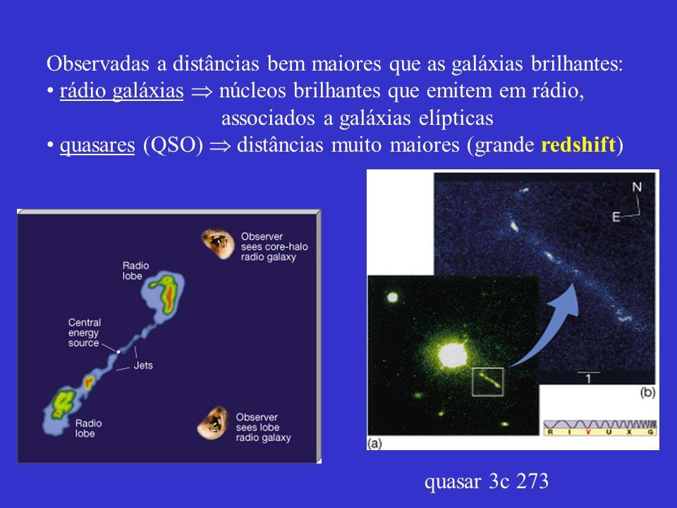 Observadas a distâncias bem maiores que as galáxias brilhantes: