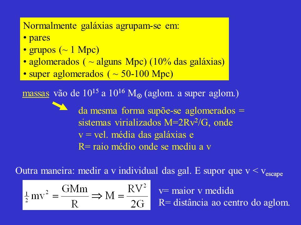 massas vão de 1015 a 1016 M (aglom. a super aglom.)